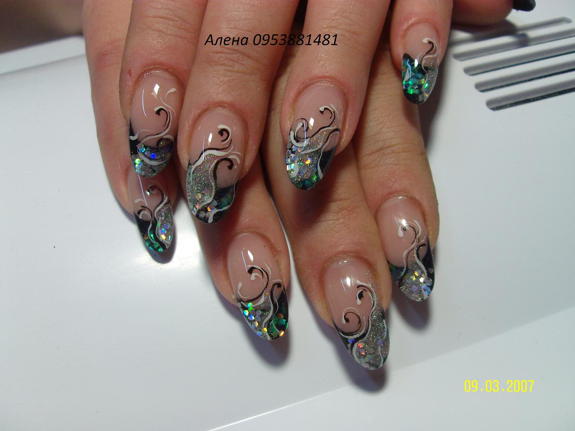 Гелевые ногти аквариум фото